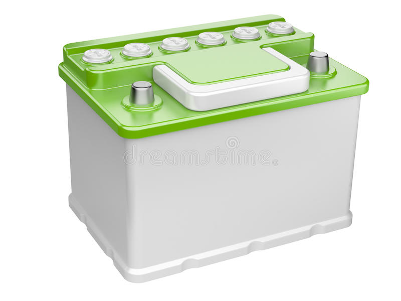 Zielona samochodowa bateria odizolowywająca na białym tle ilustracji