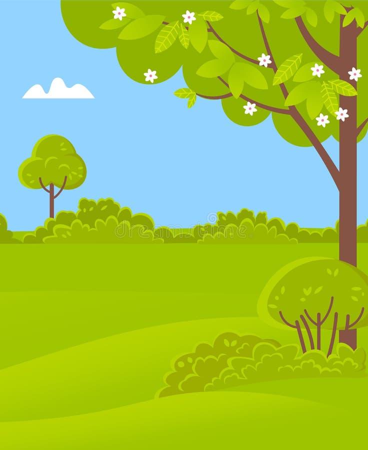 Zielona sceneria z drzewami, krzakami i trawą, wiosna ilustracja wektor