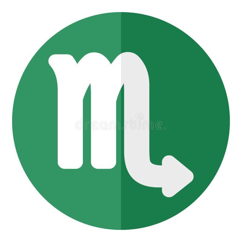 Zielona Scorpio zodiaka znaka mieszkania ikona royalty ilustracja