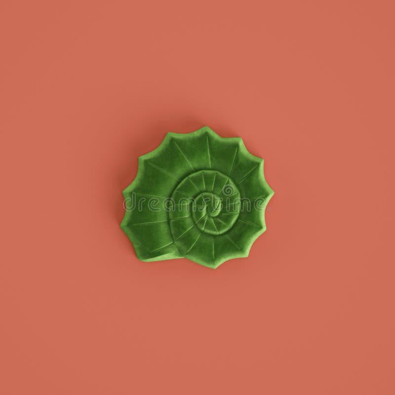 Zielona seashell rzeźba na pastelowym czerwonym tle ?wiadczenia 3 d fotografia stock