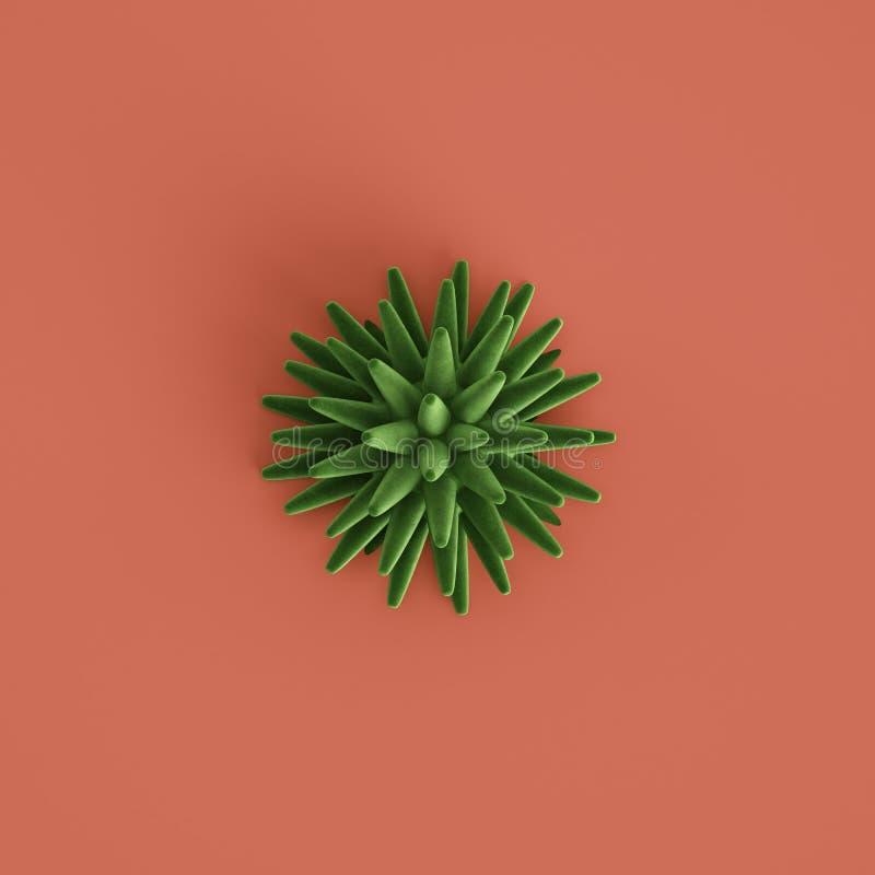 Zielona seastar rzeźba na pastelowym czerwonym tle ?wiadczenia 3 d fotografia royalty free