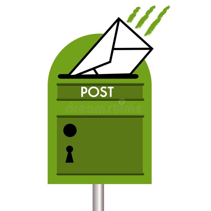 Zielona skrzynka pocztowa ilustracja wektor
