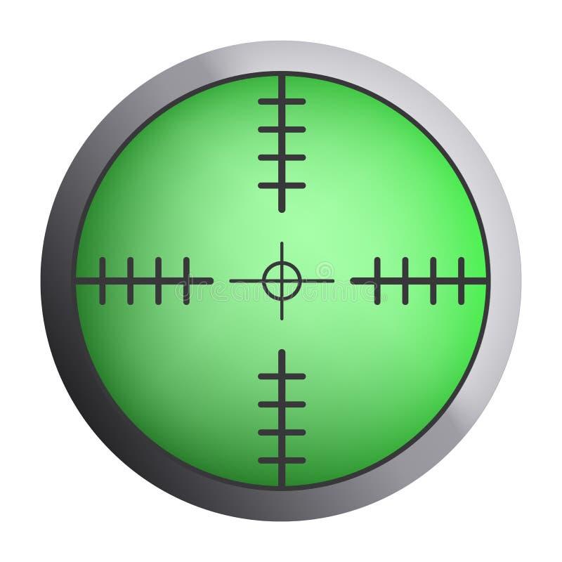Zielona snajperska crosshair ikona, realistyczny styl royalty ilustracja