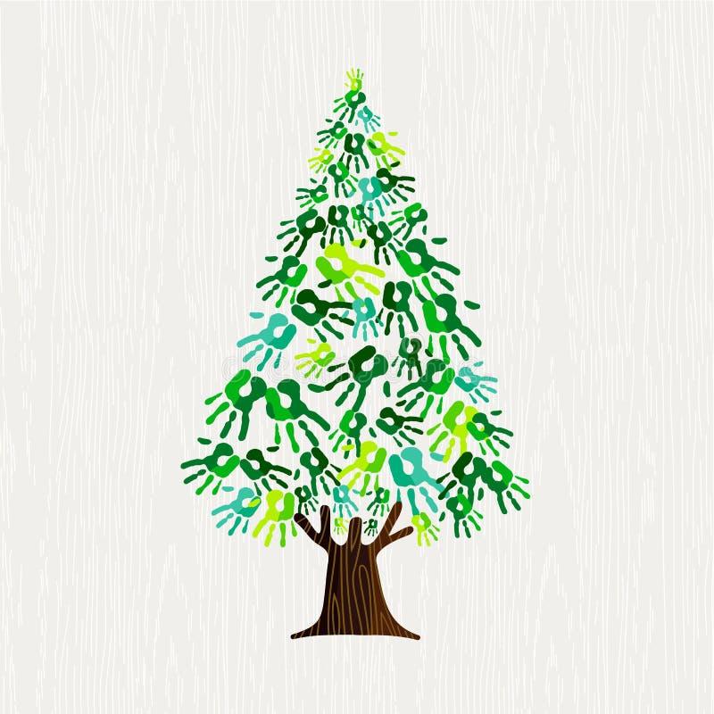 Zielona sosna z ludzkimi rękami dla natury pomocy ilustracji