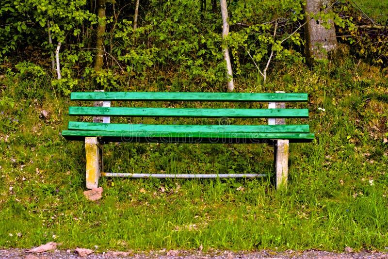 Zielona stara osamotniona parkowa ławka w naturze obrazy royalty free