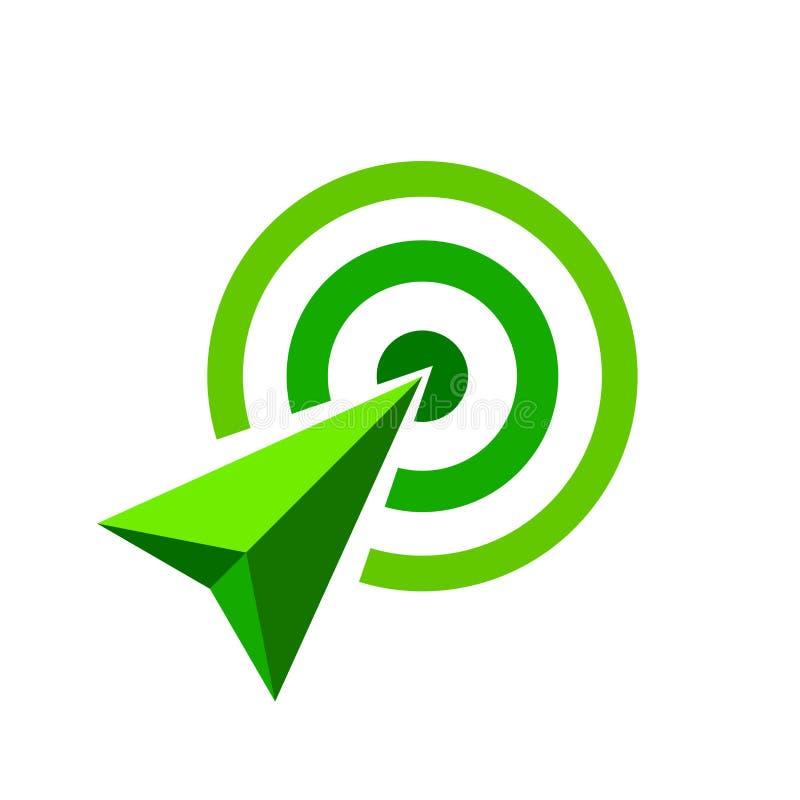 Zielona strzała bramkowy symbol strzałkowaty zielony pojęcie jest symbolizuje cel i sukces, zielony strzałkowaty logo ilustracji