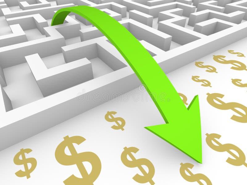 Zielona strzała iść nad labityntem dolarowi znaki ilustracji