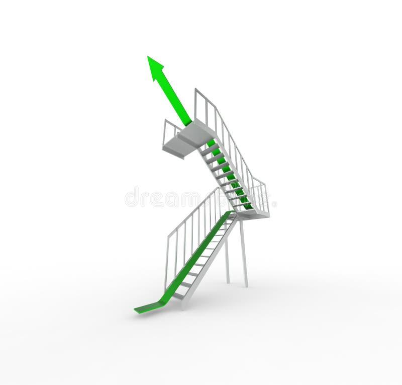 Zielona strzała na piętrze zdjęcie stock