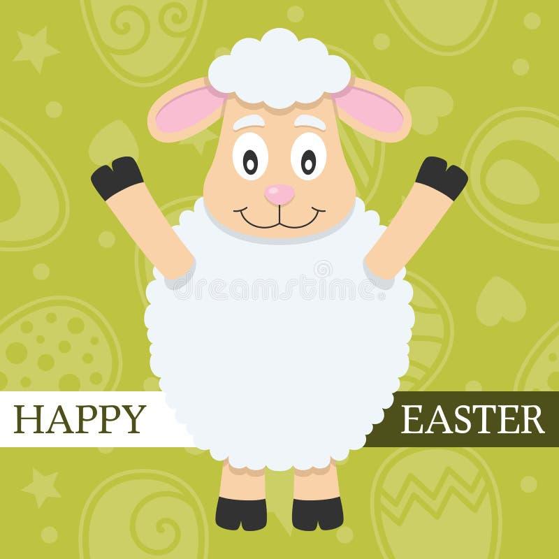 Zielona Szczęśliwa Wielkanocna karta z barankiem ilustracji