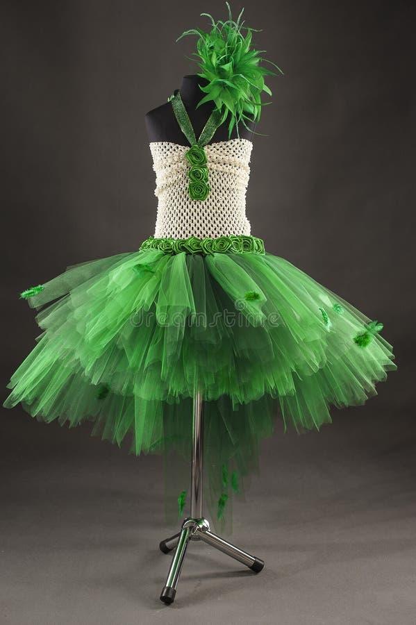 Zielona tiul suknia zdjęcia stock