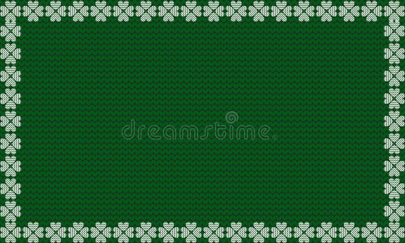 Zielona tkanina dziający tło obramiający z dzianina bielu shamrocks ilustracja wektor