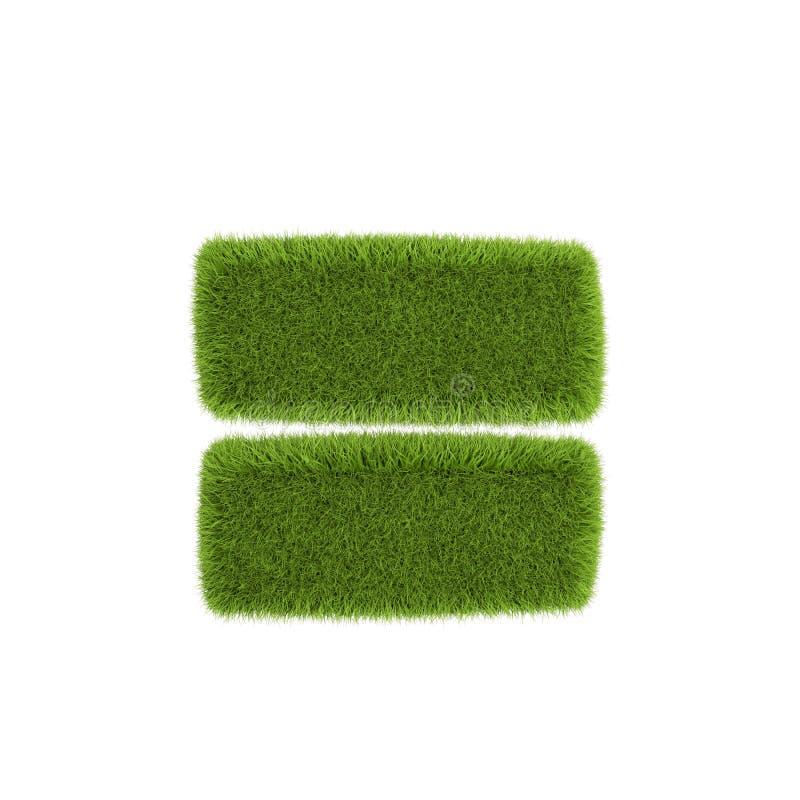 Zielona trawa równo izolowana na białym tle Ilustracja 3D royalty ilustracja