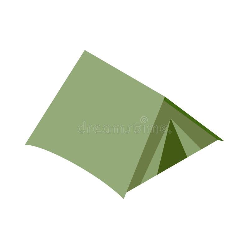 Zielona turystyczna kopuły ikona, isometric 3d styl ilustracji
