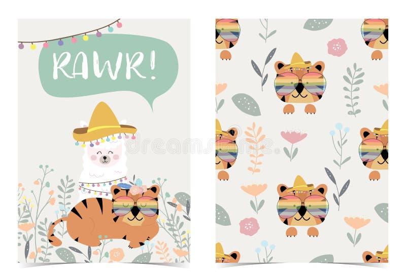Zielona urodzinowa karta z tygrysem, lamą, kwiatem i liściem, Sformułowanie jest RAWR royalty ilustracja