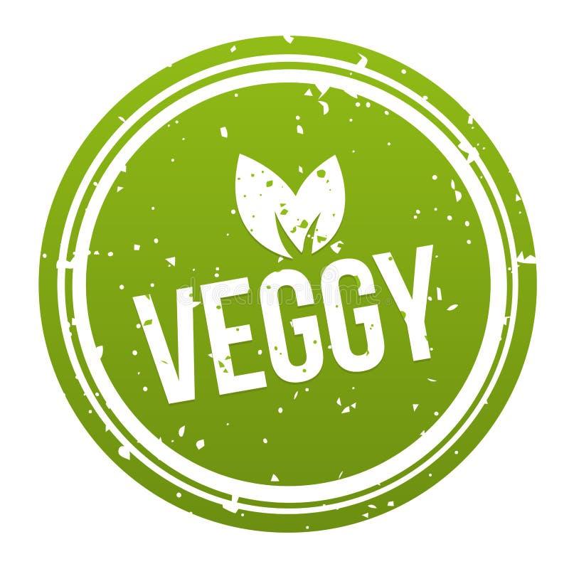 Zielona Veggy odznaka - weganinu guzik Eps10 Wektor royalty ilustracja