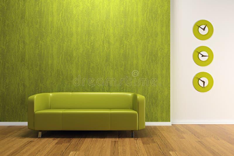 zielona wewnętrzna kanapa ilustracja wektor