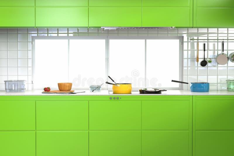 zielona wewnętrzna kuchnia ilustracji