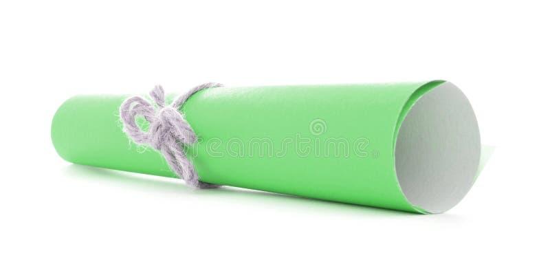 Zielona wiadomości ślimacznica wiążąca z sznurem, pojedynczy naturalny guzek odizolowywający zdjęcie stock