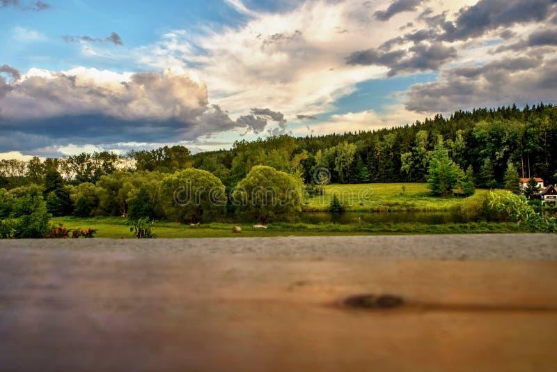 Zielona wieś na brzeg rzeki w zmierzchu zdjęcia stock