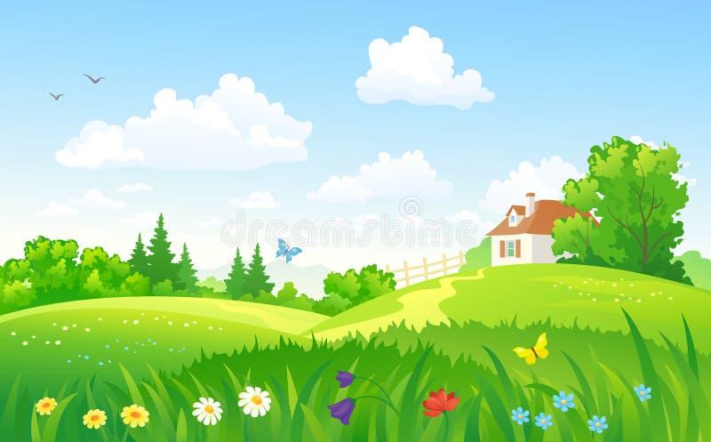 Zielona wiejska sceneria ilustracja wektor