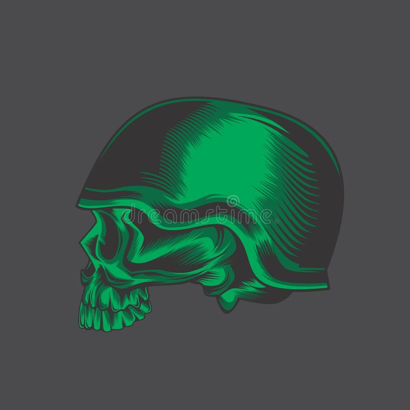 Zielona wojsko czaszka royalty ilustracja