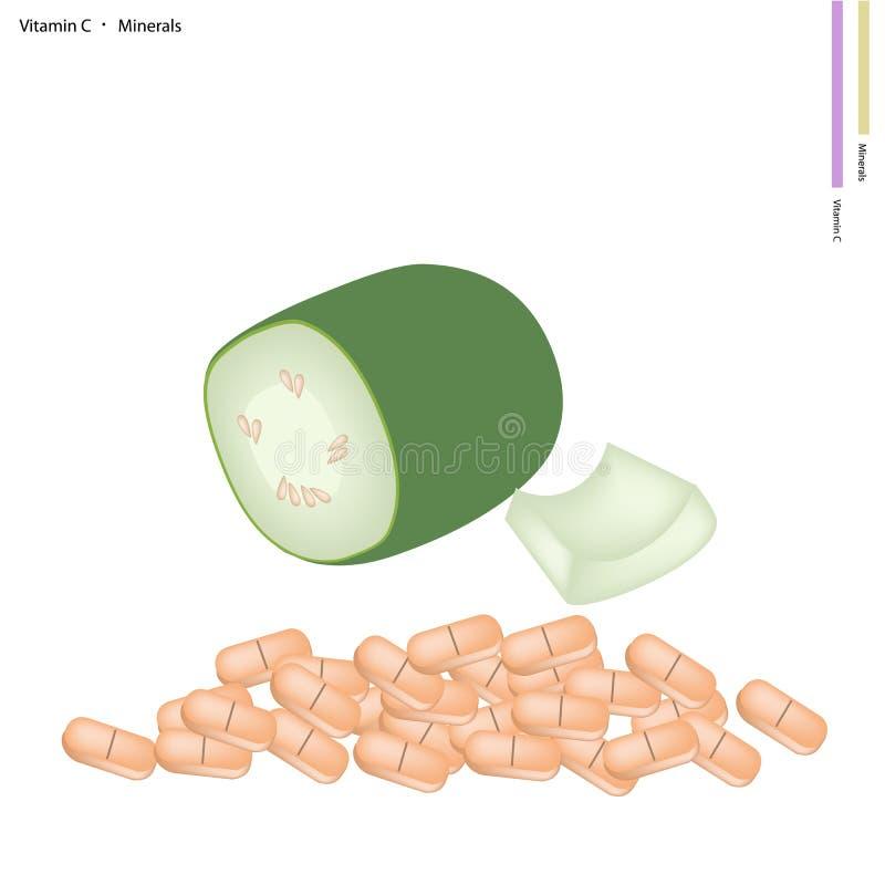 Zielona wosk gurda z witaminą C i kopalinami ilustracja wektor