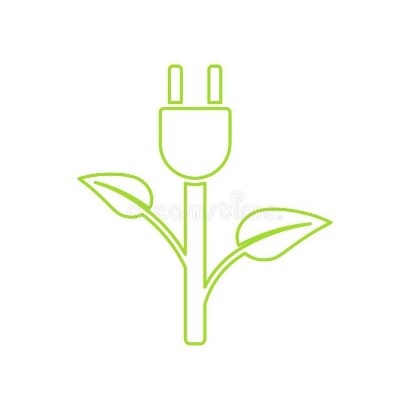 Zielona Wtyczkowa władza Ekologia Ładuje wektorową ikonę royalty ilustracja