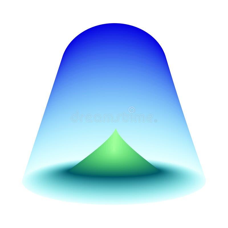 Zielona wyspa w centrum morze Niebieskie niebo kształtujący jako kopuła ogradza turkusowego oceanu okrąg z górą w centrum Isol ilustracja wektor