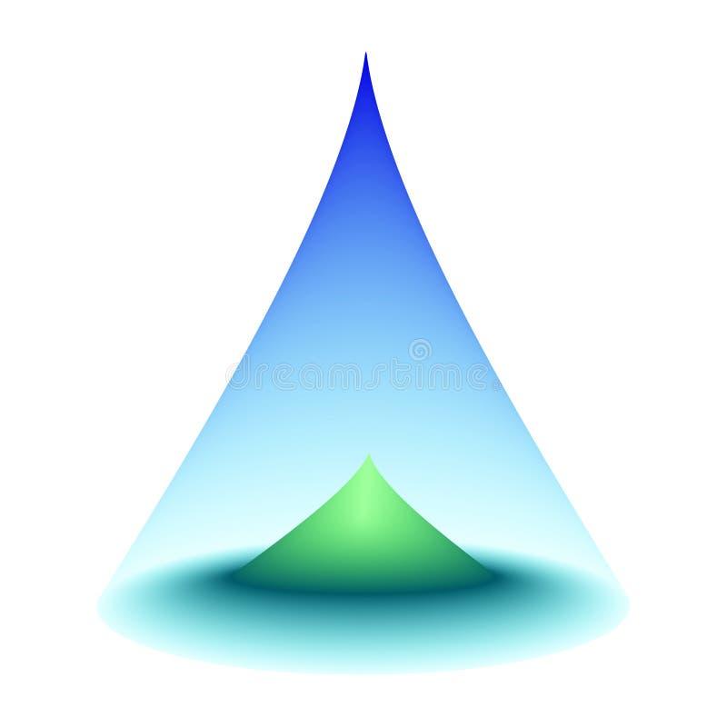 Zielona wyspa w centrum morze Niebieskie niebo kształtujący jako rożek ogradza turkusowego oceanu okrąg z górą w centrum Isol ilustracji