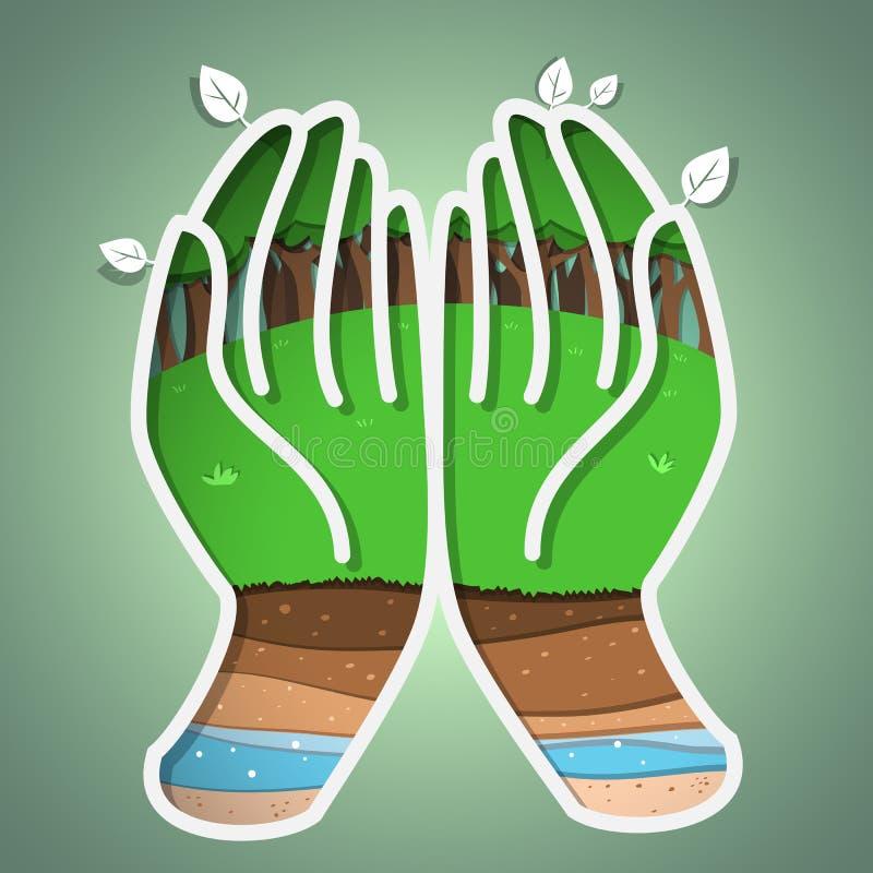 Zielona ziemia w ręce ilustracja wektor