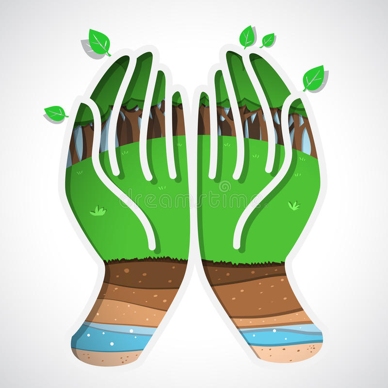 Zielona ziemia w ręce royalty ilustracja