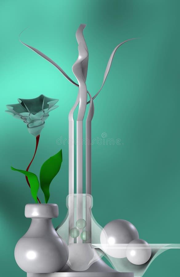 Zielonawy życie z abstrakcjonistycznym kwiatem wciąż ilustracji