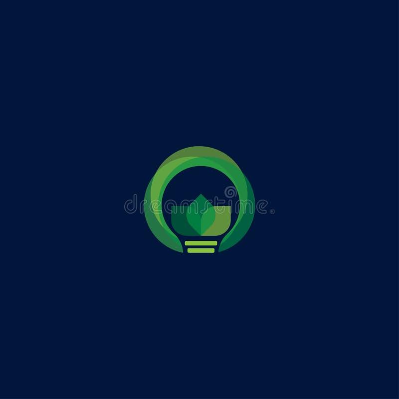Zielone światło żarówki liścia symbolu logo wektor Logo zielona energia Stylizowany eco logo biopaliwo Odnawialny zielony energet ilustracji
