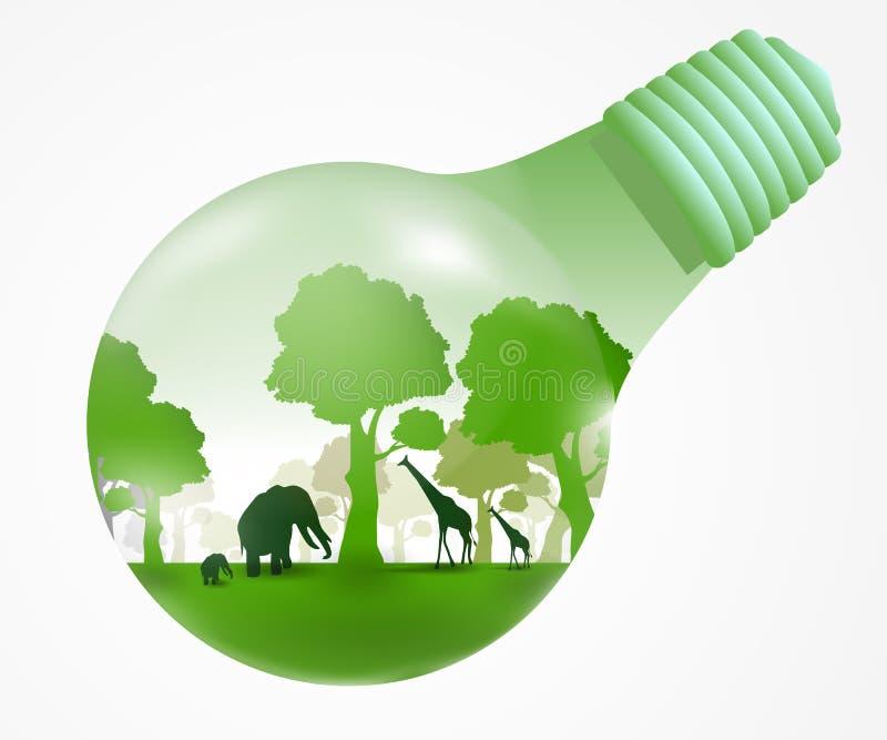 Zielone światło naturalny pojęcie royalty ilustracja