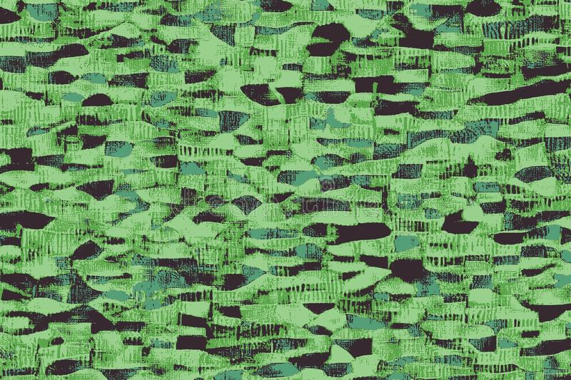 Zielone afrykańskie tkaniny z wzorami i barwionymi teksturami ilustracji