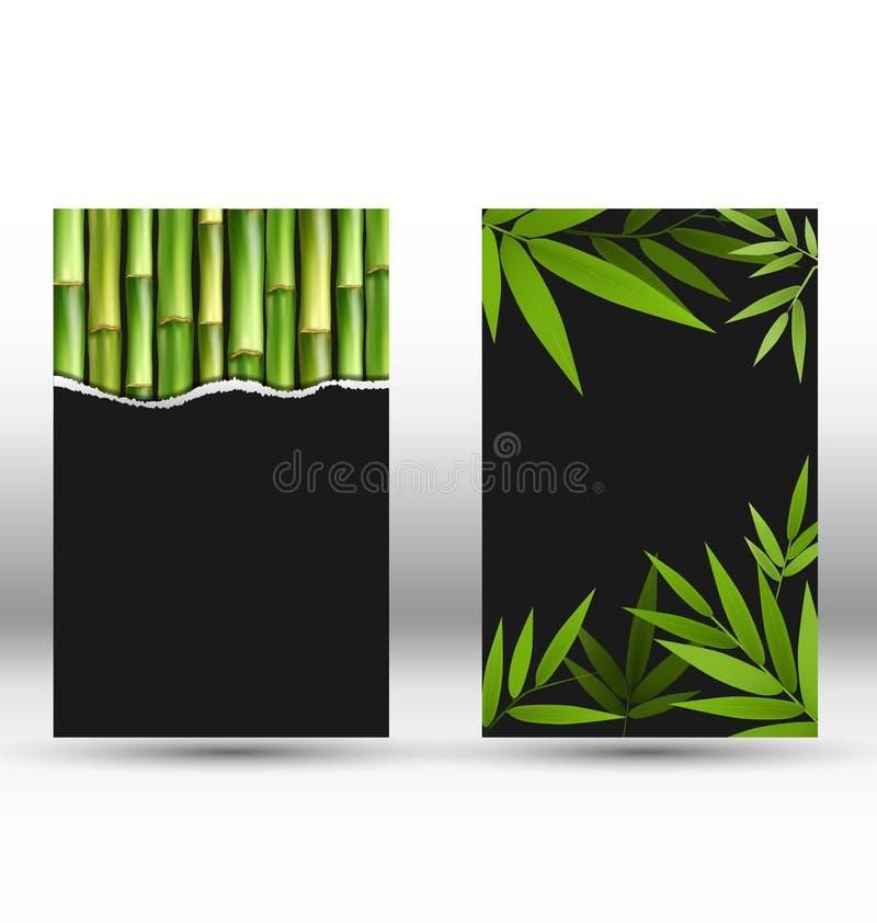 Zielone bambus karty na szarość ilustracja wektor