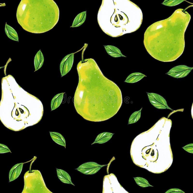 Zielone bonkret owoc na czarnym tle zdrowa żywność handwork Dla projekta bezszwowy wzór ilustracja wektor
