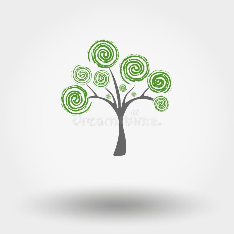 Download Zielone drzewa ilustracja wektor. Ilustracja złożonej z retro - 53781813