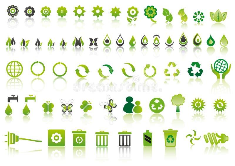 zielone ekologii ikony ilustracja wektor