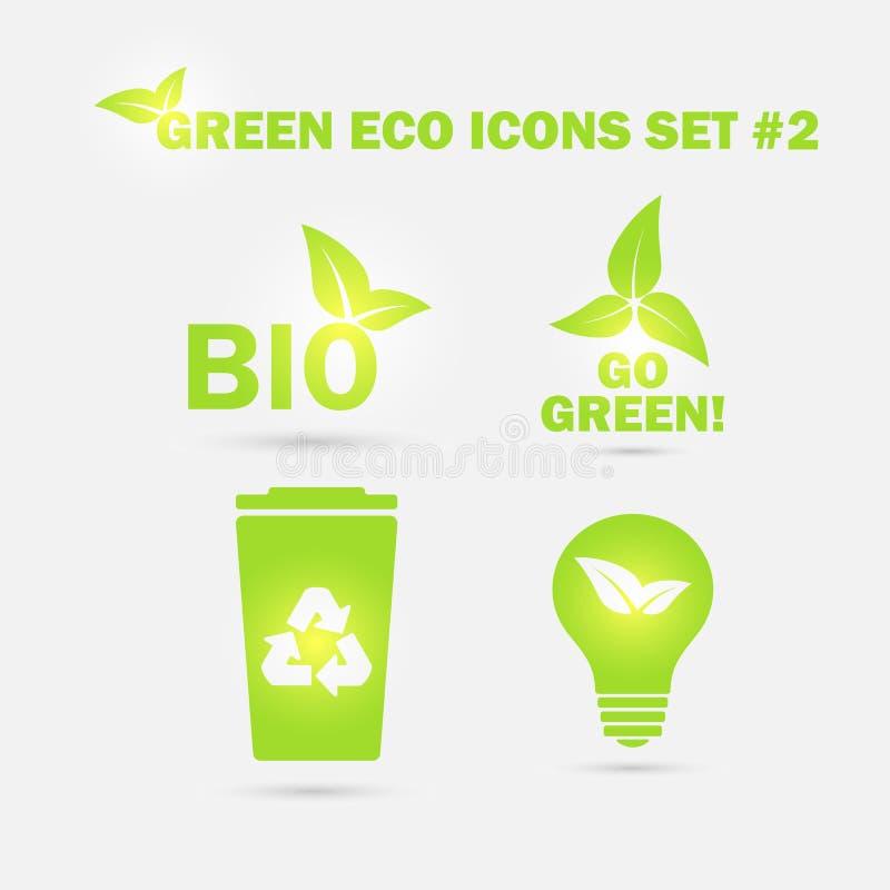 Zielone ekologii ikony ustawiać również zwrócić corel ilustracji wektora ilustracji