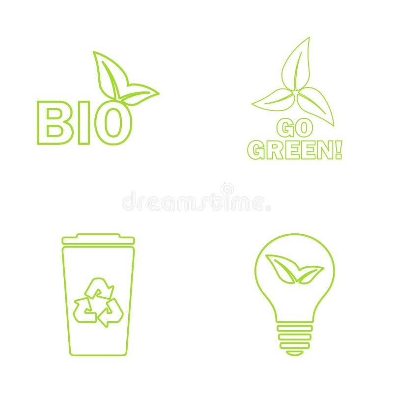 Zielone ekologii ikony ustawiać również zwrócić corel ilustracji wektora ilustracja wektor