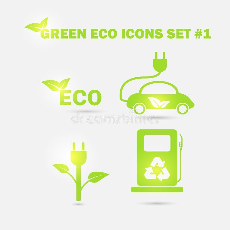 Zielone ekologii ikony ustawiać wektor ilustracja wektor