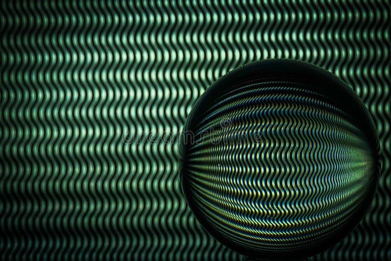 Zielone faliste linie odbija w szklanej sferze zdjęcie stock