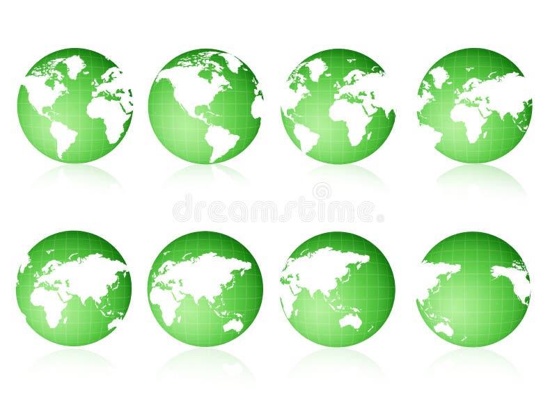 zielone globus poglądów ilustracja wektor