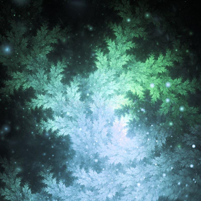 Zielone i błękitne fractal gałąź ilustracja wektor