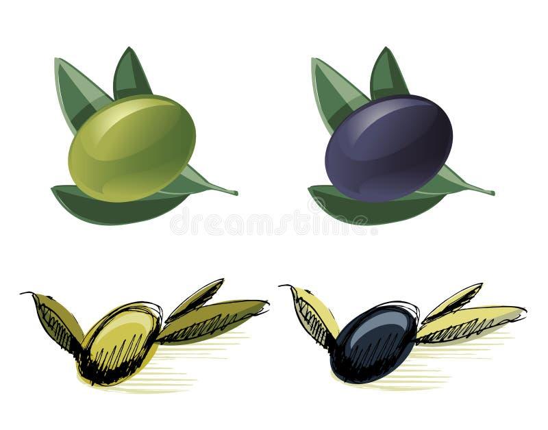 Zielone i czarny oliwki royalty ilustracja
