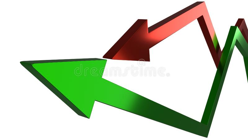 Zielone i czerwone strzały reprezentuje wahający się zyski i straty w finansach gospodarki lub biznesu royalty ilustracja
