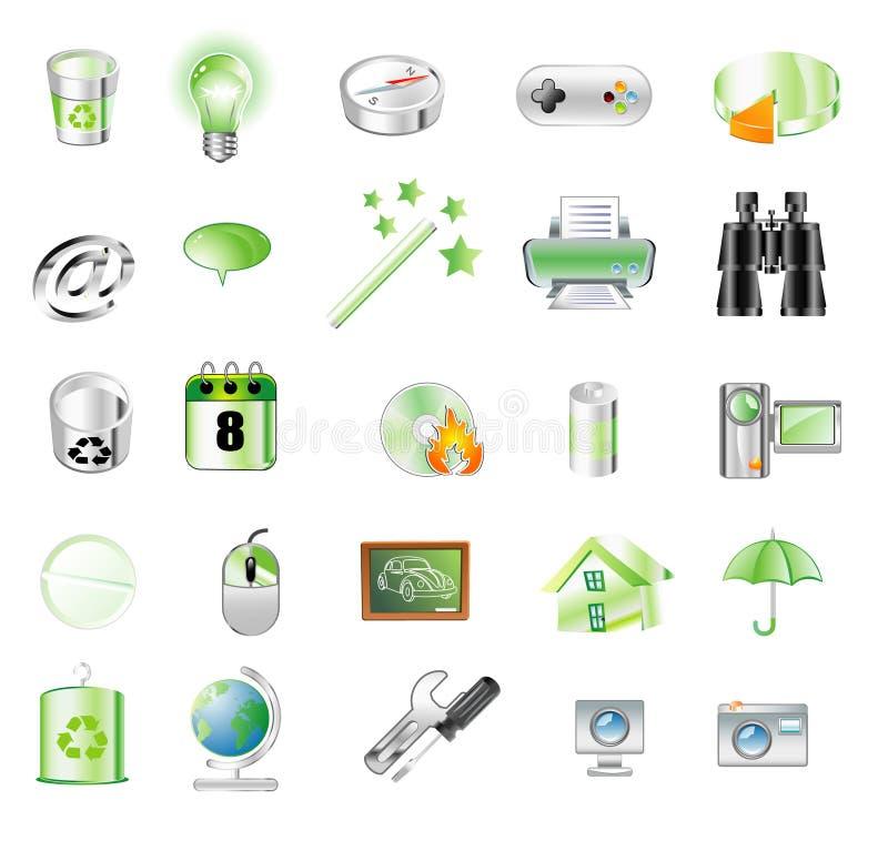 zielone ikony ilustracja wektor
