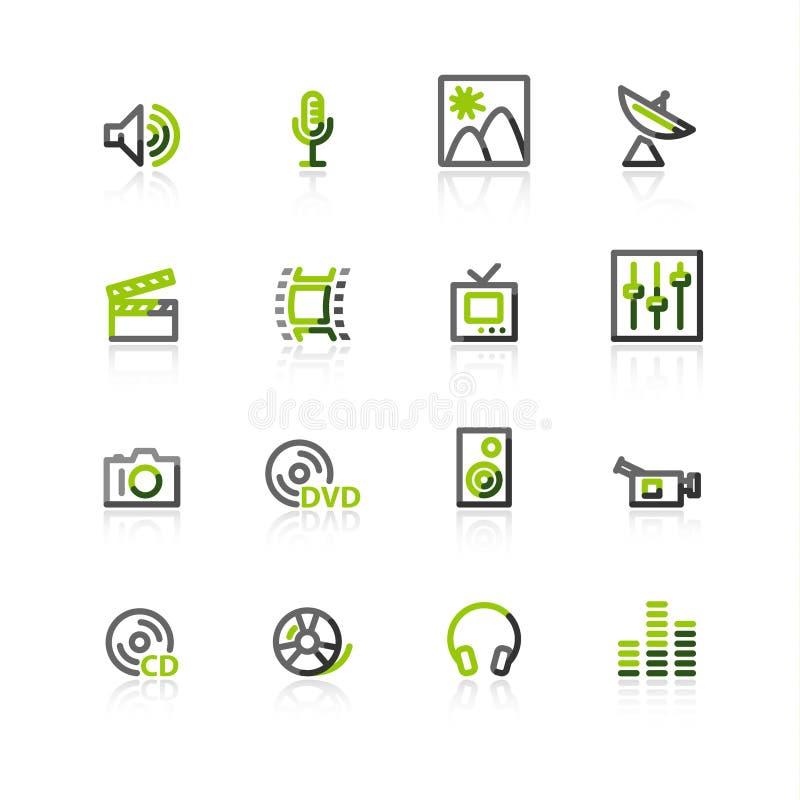 zielone ikony medialne gray ilustracja wektor