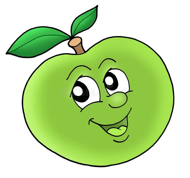 - zielone jabłka się uśmiecha ilustracja wektor